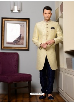 Off White Banarasi Silk Embroidered Sherwani