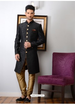 Groovy Black Banarasi Silk Embroidered Sherwani