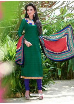 Green Bhagalpuri Silk Churidar Suit