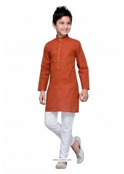 Latest Rust Cotton Kurta Pajama
