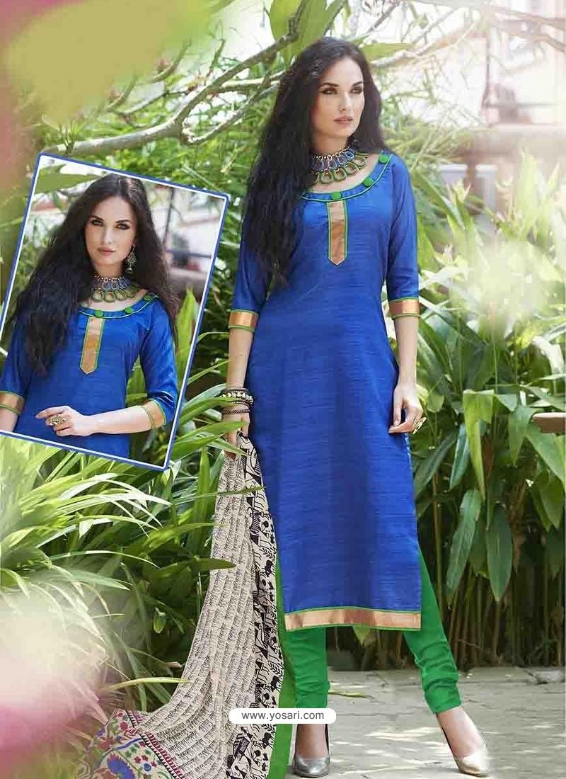 Blue Bhagalpuri Silk Churidar Suit