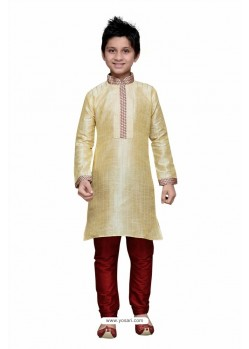 Golden Art Silk Embroidered Kurta Pajama