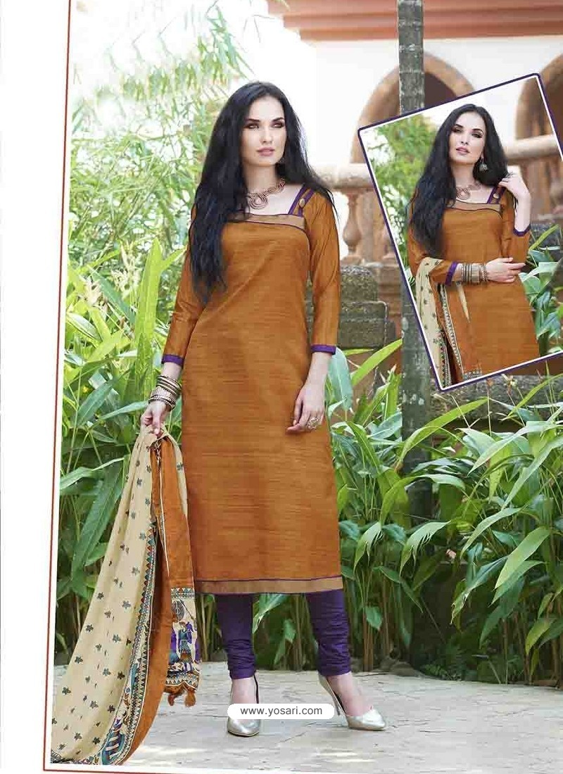 Orange Shade Bhagalpuri Silk Churidar Suit