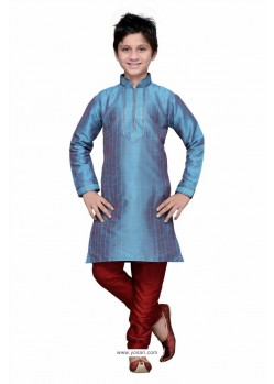 Teal Blue Art Silk Embroidered Kurta Pajama
