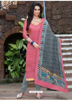 Peach Bhagalpuri Silk Churidar Suit