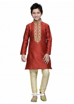 Wine Art Silk Embroidered Kurta Pajama