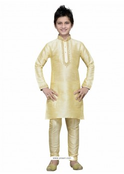 Cream Art Silk Embroidered Kurta Pajama