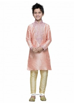 Baby Pink Art Silk Embroidered Kurta Pajama