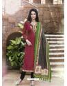 Maroon Bhagalpuri Silk Churidar Suit