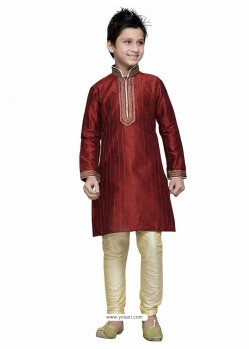 Maroon Art Silk Embroidered Kurta Pajama