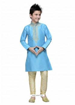 Turquoise Art Silk Embroidered Kurta Pajama