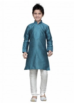 Tealblue Art Silk Embroidered Kurta Pajama