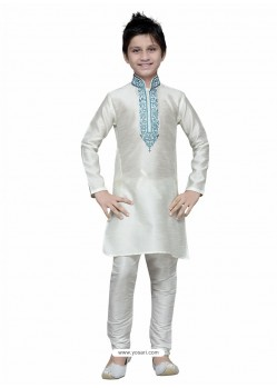 White Art Silk Embroidered Kurta Pajama