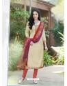 Cream Bhagalpuri Silk Churidar Suit