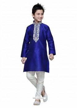 Royal Blue Art Silk Embroidered Kurta Pajama