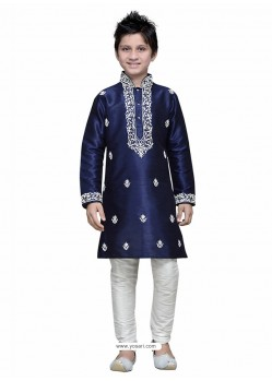 Navy Blue Art Silk Embroidered Kurta Pajama
