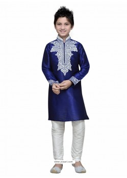 Blue Art Silk Embroidered Kurta Pajama