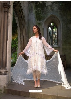 Off White Poly Georgette Embroidered Suit
