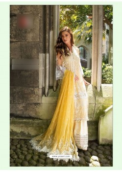 Cream Poly Georgette Embroidered Suit