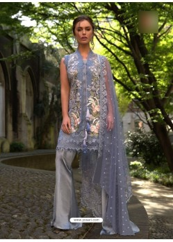 Grey Poly Georgette Embroidered Suit