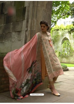 Baby Pink Poly Georgette Embroidered Suit