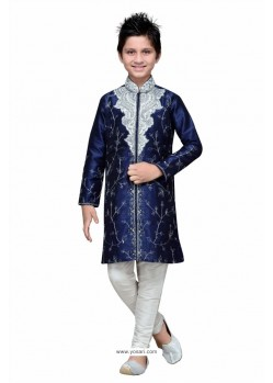 Navy Blue Art Silk Embroidered Sherwani