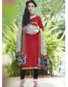 Red Bhagalpuri Silk Churidar Suit