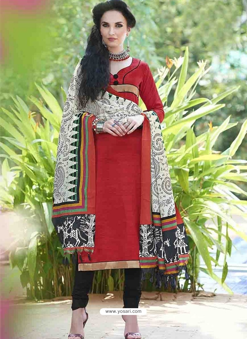 Red Bhagalpuri Silk Churidar Suit