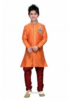 Orange Art Silk Embroidered Sherwani