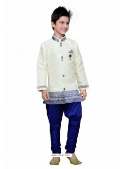 White Art Silk Embroidered Sherwani