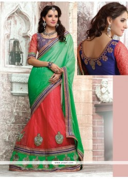 Hot Pink And Sea Green Satin Chiffon Lehenga Saree