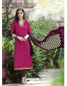 Magenta Bhagalpuri Silk Churidar Suit