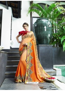 Orange Fancy Fabric Embroidered Saree