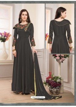 Carbon Muslin Embroidered Floor Length Suit