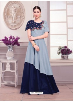 Blue Muslin Embroidered Floor Length Suit