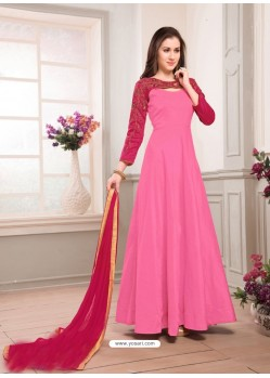 Pink Taffeta Embroidered Floor Length Suit