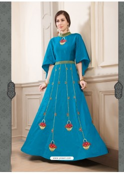 Blue Poly Silk Embroidered Floor Length Suit