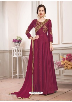 Wine Poly Silk Embroidered Floor Length Suit