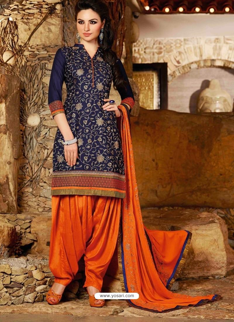 Navy Blue Cotton Punjabi Patiala Suit
