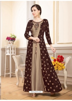Deep Scarlet Muslin Embroidered Floor Length Suit
