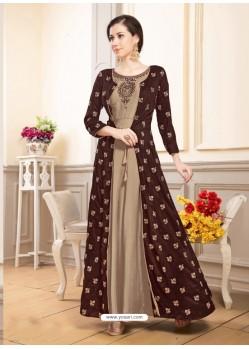 Deep Scarlet Muslin Embroidered Floor Length Suit