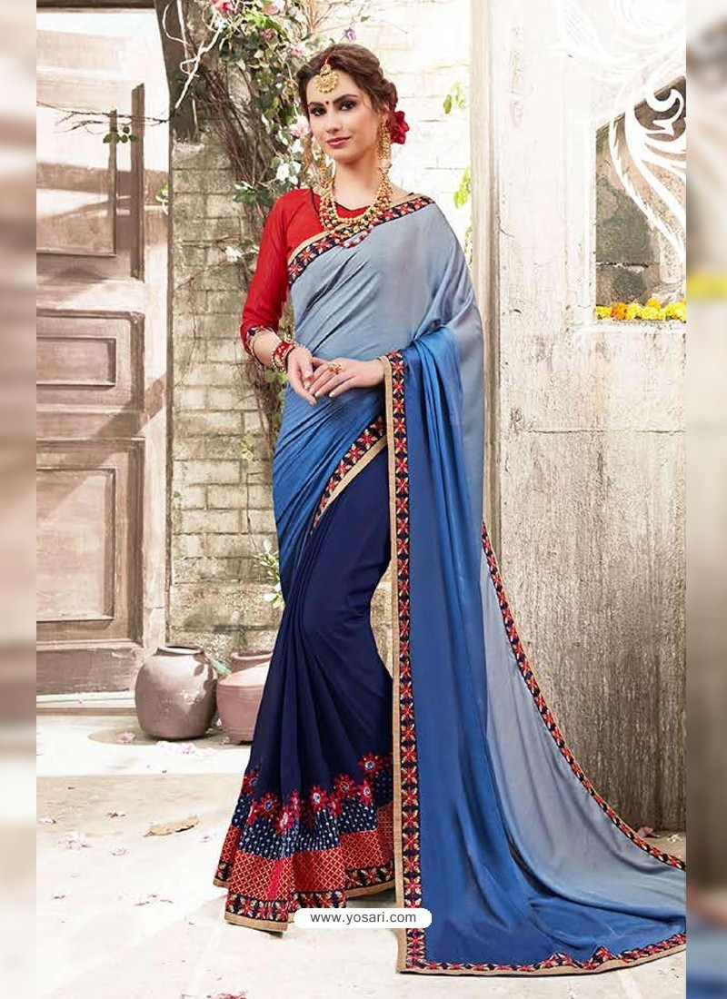 a439dcd237 Buy Navy Blue Satin Georgette Embroidered Saree   Party Wear Sarees