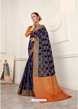 Dark Blue Crystal Silk Jacquard Saree