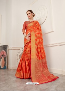 Orange Crystal Silk Jacquard Saree