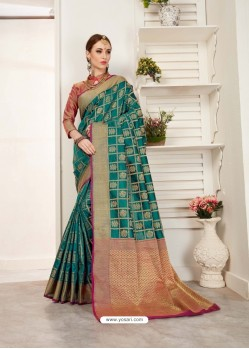 Teal Crystal Silk Jacquard Saree