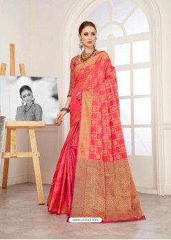 Dark Peach Crystal Silk Jacquard Saree