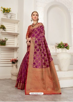 Deep Wine Crystal Silk Jacquard Saree