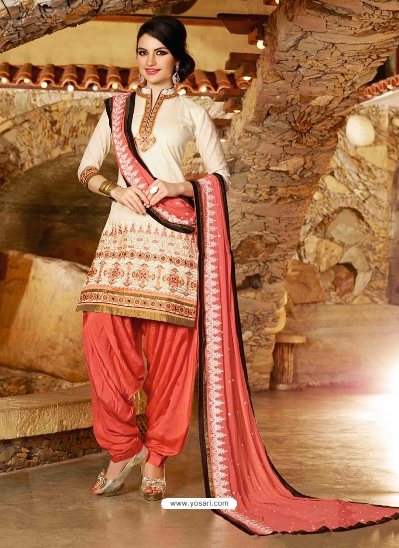 Off White Cotton Punjabi Patiala Suit