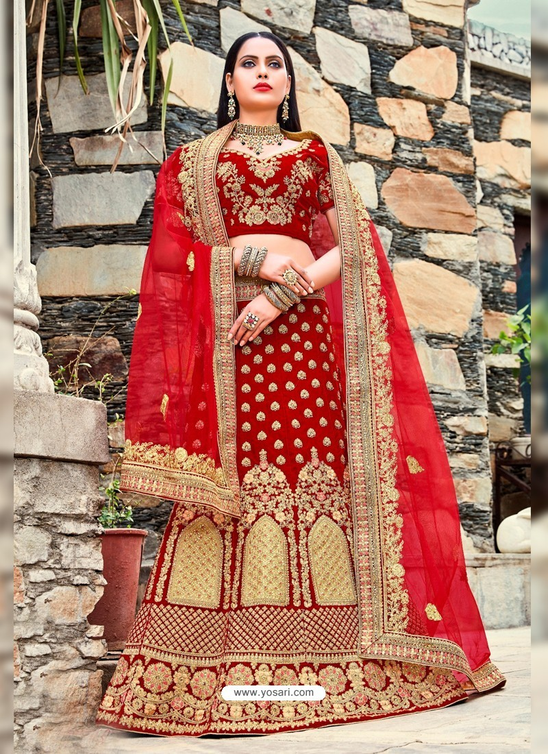 Buy Red Micro Velvet Embroidered Lehenga Choli Bridal Lehenga Choli