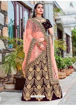 Maroon Micro Velvet Embroidered Lehenga Choli